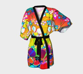 Abstract Colorful Flower Art Yellow Background Kimono Robe preview