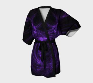 Purple Fractal on Black Kimono Robe preview