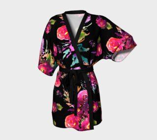 Aperçu de Kimono peignoir Happy Roses on Black