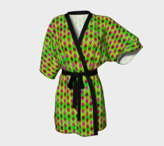 Fun Bright Green Purple Ogee Pattern Kimono Robe preview