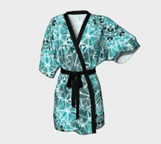 Turquoise & Gray Kaleidoscope Kimono Robe preview