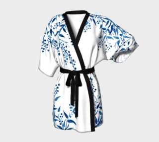 Blue Watercolor Leaves Kimono Robe preview
