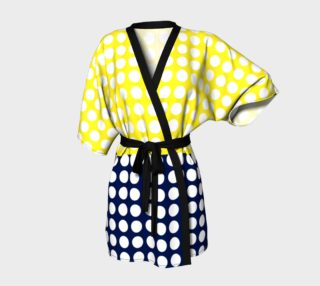 Aperçu de Blue and Yellow with white polka dots Kimono