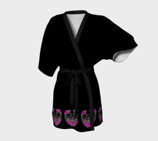 Pink Rose Skull Black Kimono Robe by Tabz Jones preview