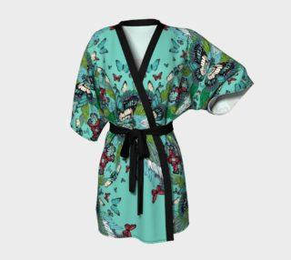 Green butterflies tower kimono robe preview
