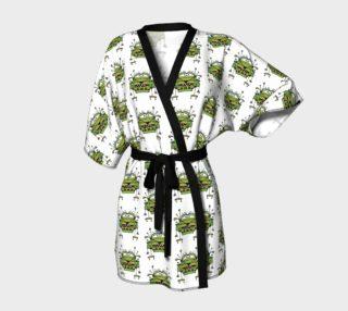 Funny Robot Cartoon Print Kimono Robe preview