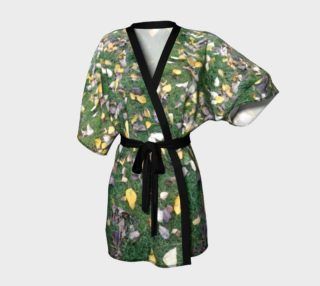Falling leaves on green grasses, Kimono Robe for anyone. preview