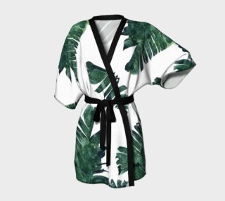 Aperçu de Banana Leaf Watercolor Pattern Kimono Robe