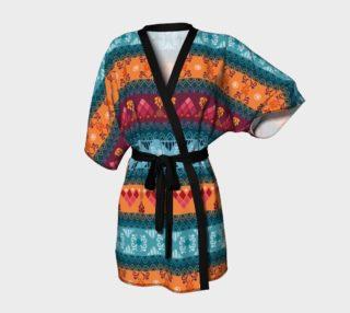 Tribal Mandala Lace Braid Print Kimono Robe preview
