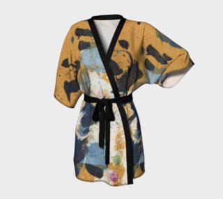 Ocher and blue belted kimono aperçu