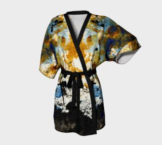 Abstract ocher, blue, and black belted kimono preview