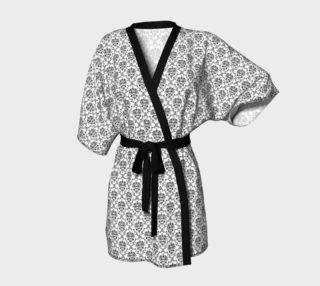 Black on White Damask Kimono Robe preview