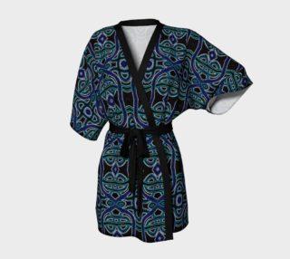 Aperçu de Lapis Lazuli Damask Kimono Robe