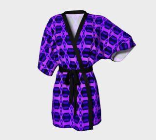 Diamond Geometric Pattern Blue Heliotrope and Purple Kimono Robe preview
