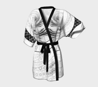 Aperçu de Black and White Circular Fractal on a Jinbaori Samurai Kimono