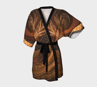 Aperçu de Earthen Brown Circular Fractal on a Woven Wicker Samurai Kimono