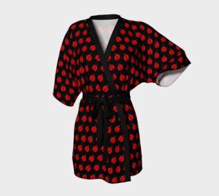 Ladybugs Pattern-Black Kimono Robe preview