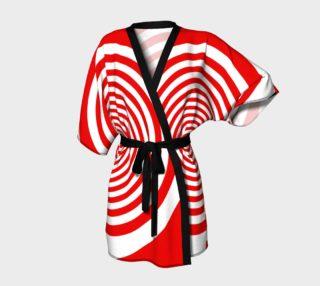 Red & White Spiral Swirl Kimono Robe preview