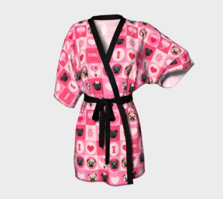 Valentine's Day Pug Kimono - Pinks, Fawn and Black Pugs preview