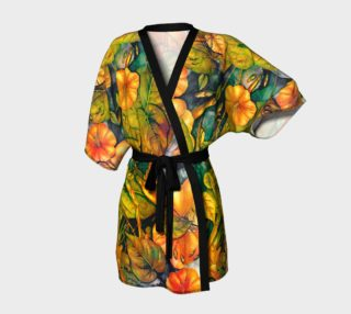 kimono robe orange flowers preview