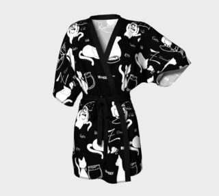 The Word For Cat White on Black Print Kimono preview