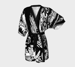 Landscape Art Robe Black & White Forest Kimono Robe preview
