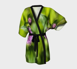 A Bee on a Purple Flower Kimono Robe preview