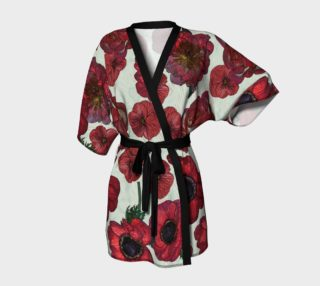 Red anemones and roses Kimono Robe preview