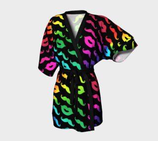 Multicolored Mustache & Lips with Black Background Kimono Robe preview