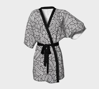 Aperçu de Black and white swirls doodles Kimono Robe