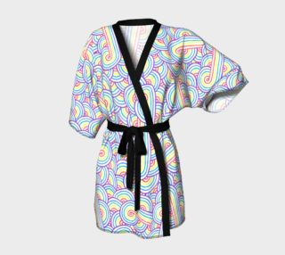 Aperçu de Rainbow and white swirls doodles Kimono Robe