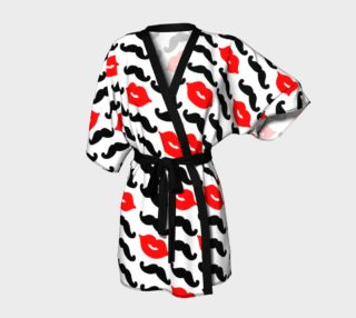 Black Mustache & Red Lips with White Background Kimono Robe preview