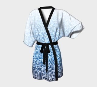 Ombre blue and white swirls doodles Kimono Robe preview