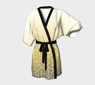 Aperçu de Ombre yellow and white swirls doodles Kimono Robe
