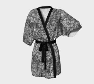 Grey and black swirls doodles Kimono Robe preview