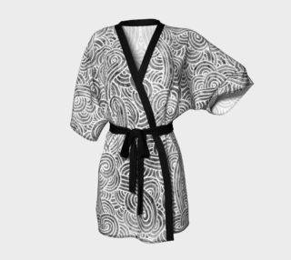 Aperçu de Grey and white swirls doodles Kimono Robe