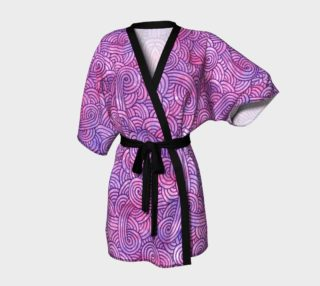 Neon purple and pink swirls doodles Kimono Robe preview
