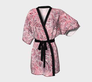 Aperçu de Red and white swirls doodles Kimono Robe