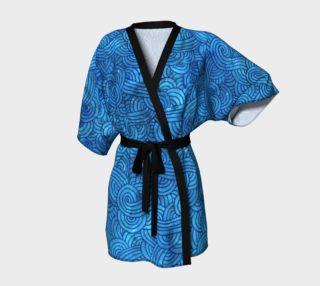 Aperçu de Turquoise blue swirls doodles Kimono Robe