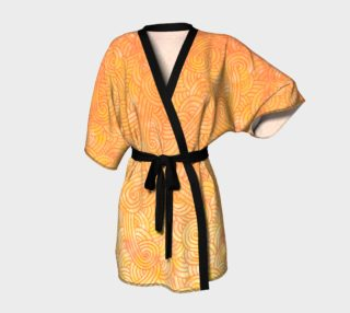 Aperçu de Yellow and orange swirls doodles Kimono Robe