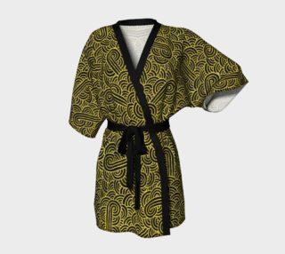 Aperçu de Faux gold and black swirls doodles Kimono Robe