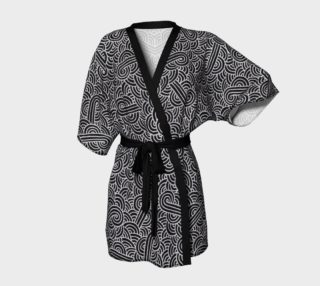 Faux silver and black swirls doodles Kimono Robe preview