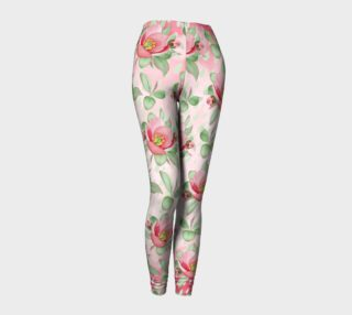 Aperçu de Bold Red Green Wild Rose Floral Leggings