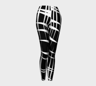 "Aperçu de Camila Print--Leggings, Bold White Geometric ""Claws"" Design on Black Background"