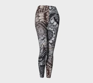 Black & White Dancing Flowers Leggings preview