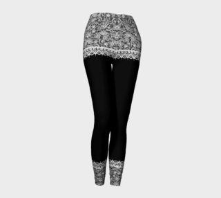 Aperçu de Black and White Mehndi Lace Adult Leggings