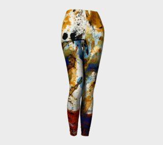 rust ocher blue abstract leggings preview