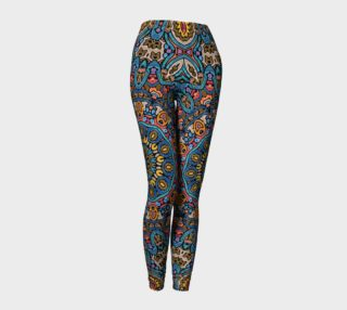 Aperçu de Oriental Watercolor Mandala Blue Orange leggings
