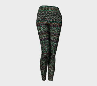 Abstract Red Yellow and Green Damask Pattern Leggings preview