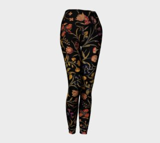 Aperçu de Medieval Flowers on Black Leggings